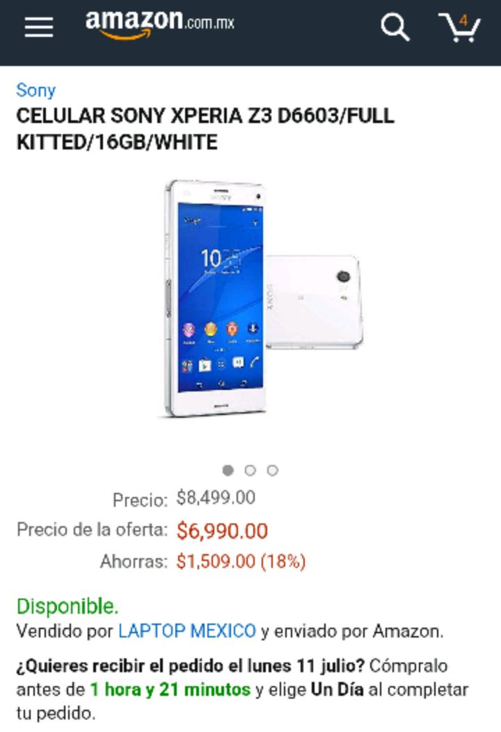 Amazon: Oferta Sony Xperia Z3