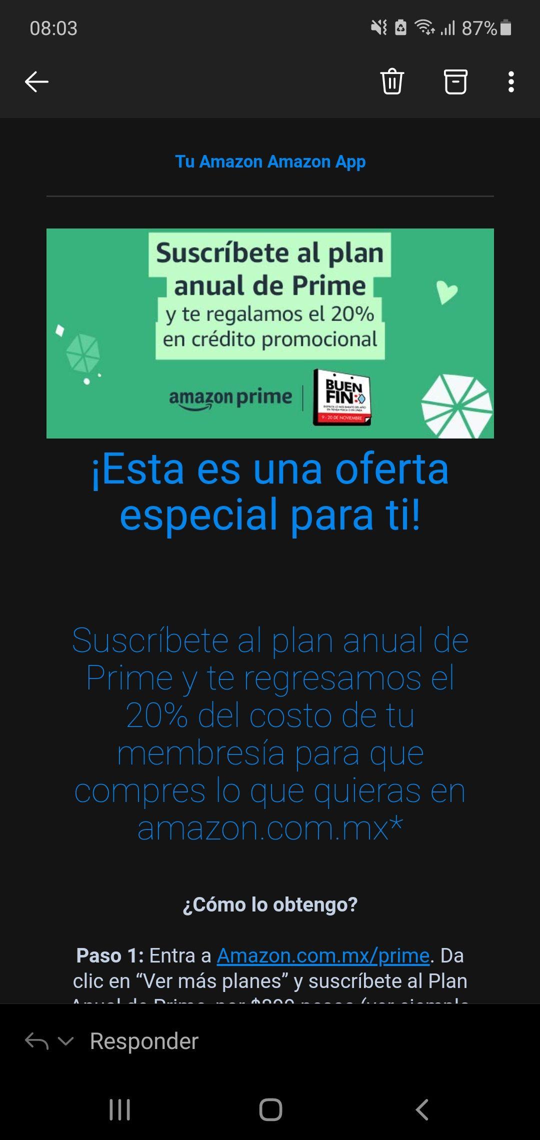 Amazon 20% de cashback en Membresia Prime (Usuarios seleccionados)