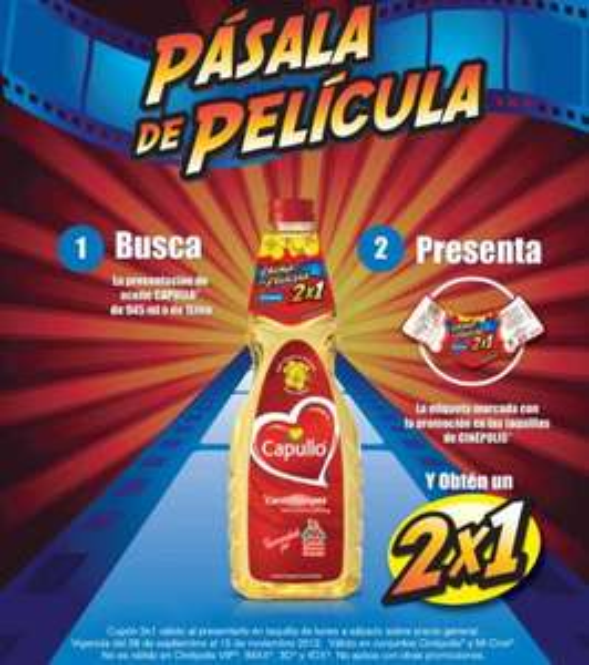 Cinépolis: 2x1 con etiqueta de aceite Capullo