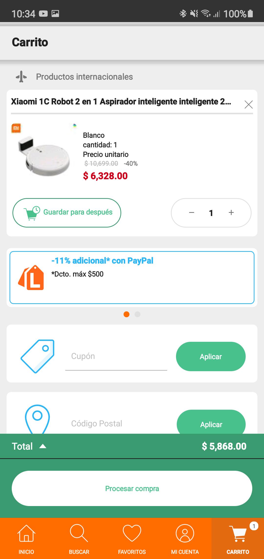 Linio: Mi robot vacuum xiaomi pagando con PayPal