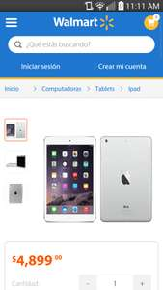 Walmart en línea: iPad Mini 2 Wi Fi 16 GB Silver