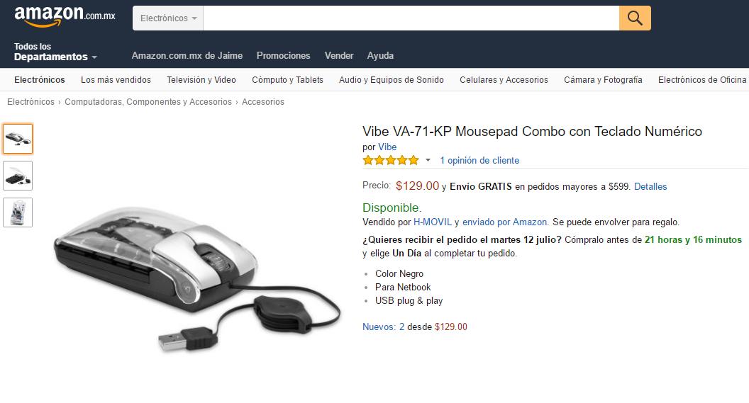 Amazon: Mouse con Teclado Numérico