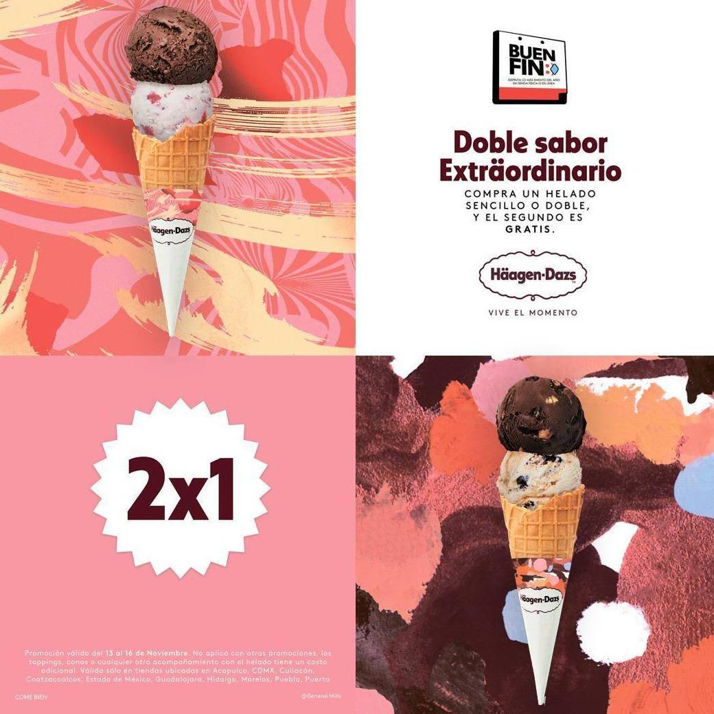 Häagen-Dazs: 2x1 en Helado Sencillo o Doble