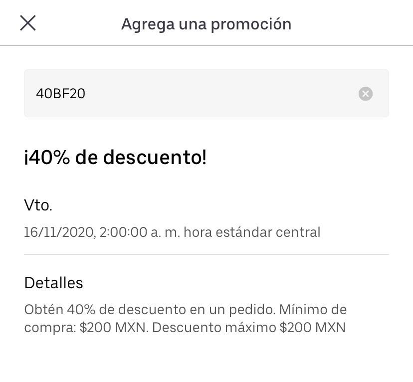 Uber eats - 40% de descuento (usuarios seleccionados)