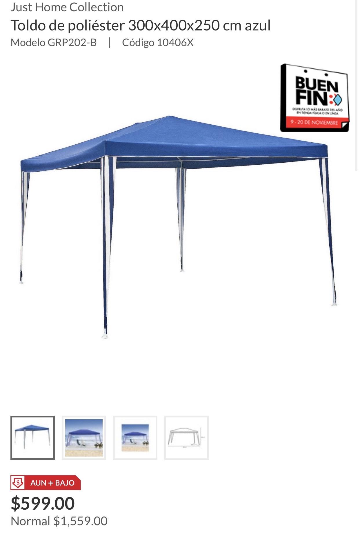 Sodimac: Toldo de poliéster 300x400x250 cm azul