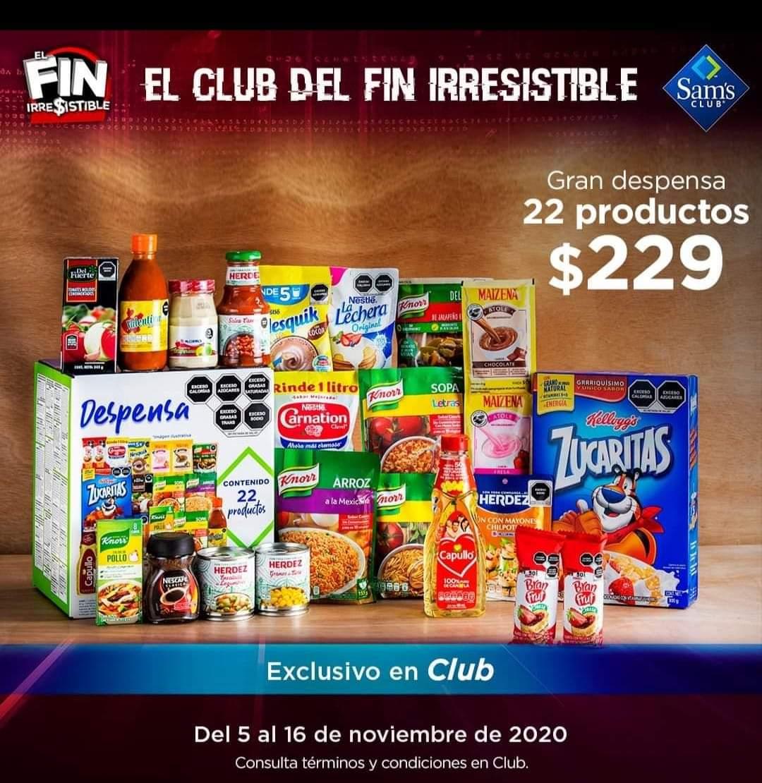 Sam's Club: despensa 22 productos en 229