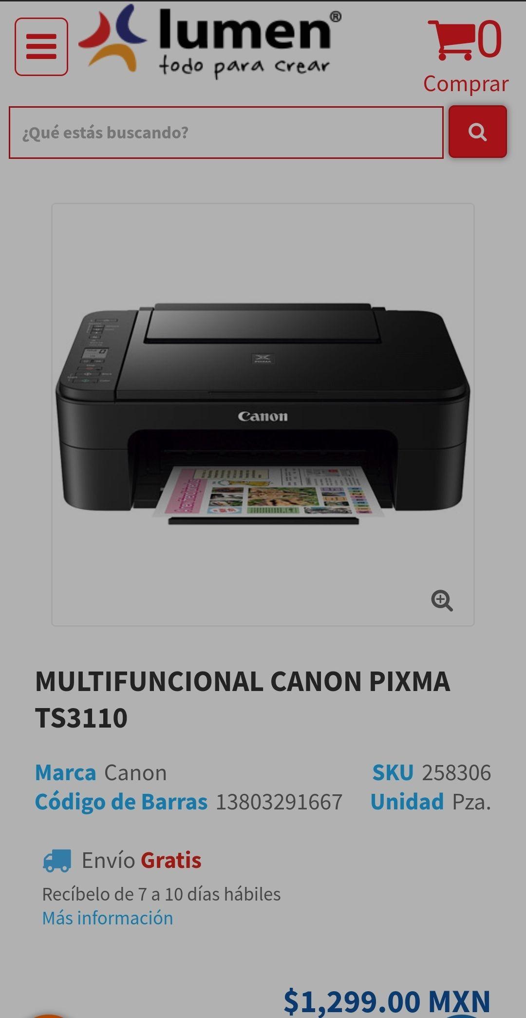 Lumen: Impresora Multifuncional Inalámbrica Canon TS3110
