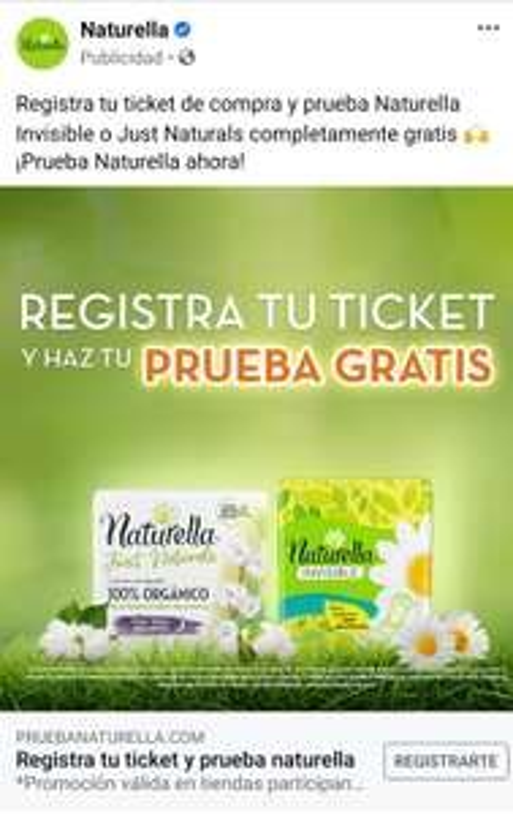 Naturella Invisible o Just Naturals: Registra tu Ticket y recibe un reembolso del producto