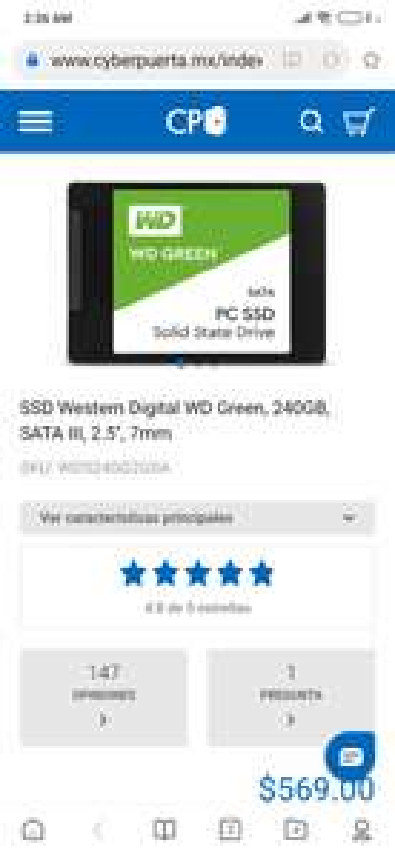 Cyberpuerta: SSD 240 GB Western Digital Green Sata III