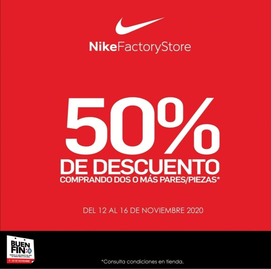 Buen fin 2020 Nike factory a 50% de descuento en toda la tienda Comprando en pares