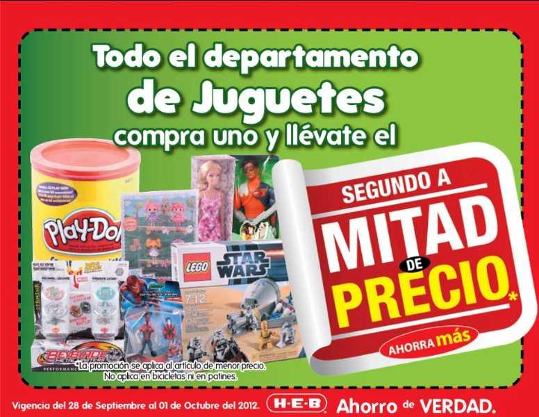 HEB: segundo a mitad de precio en todos los juguetes y en artículos de Halloween