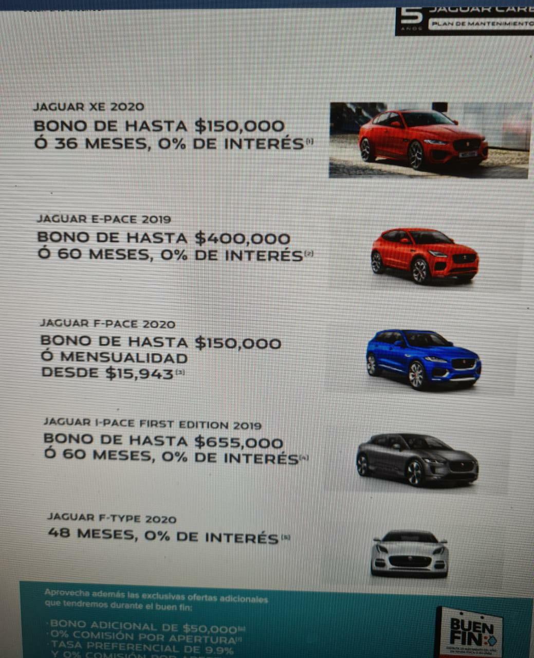 Buen Fin 2020 Jaguar: Bono de $150,000, MSI, 0% de interés y más