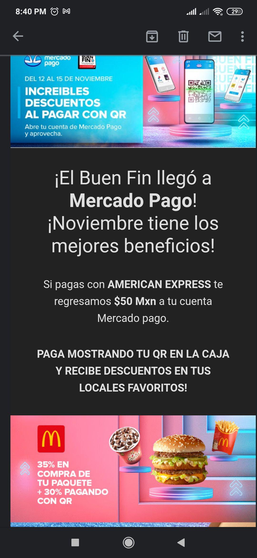 Mercado pago: te regresa 50 pesos si pagas con AMERICAN EXPRESS