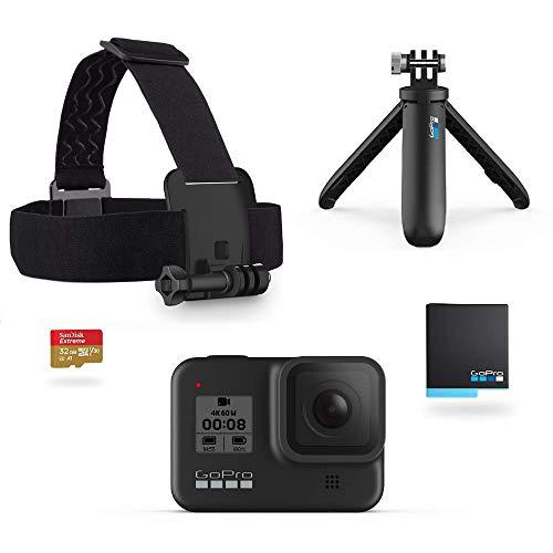 Amazon: GoPro HERO8 Black + Correa para la cabeza y Quickclip + Batería recargable + Memoria de 32GB + Shorty