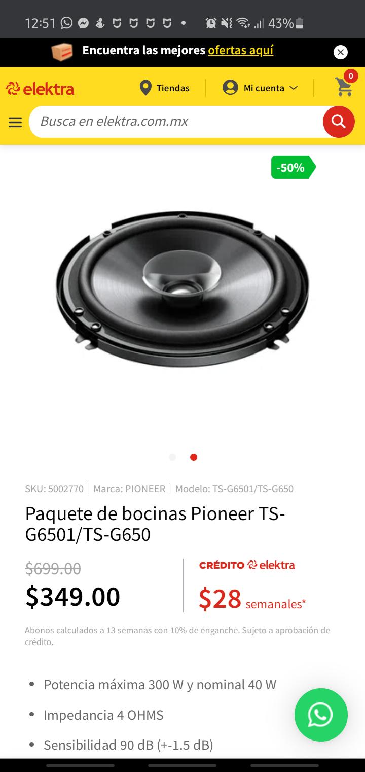 Elektra: Paquete de bocinas Pioneer TS-G6501/TS-G650
