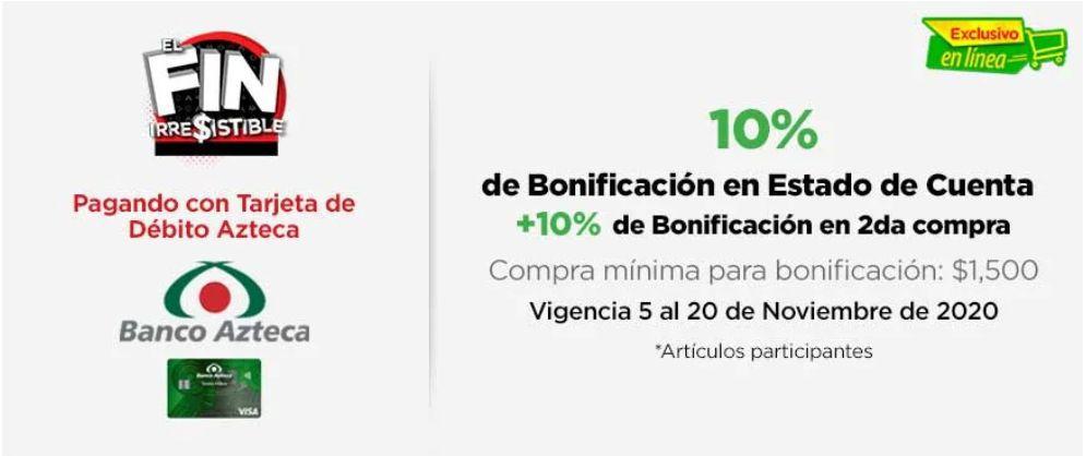 Bodega Aurrera: 10% de bonificación en estado de cuenta con Tarjeta Azteca de Débito + 10% en cupón de 2da compra - Sólo en línea.