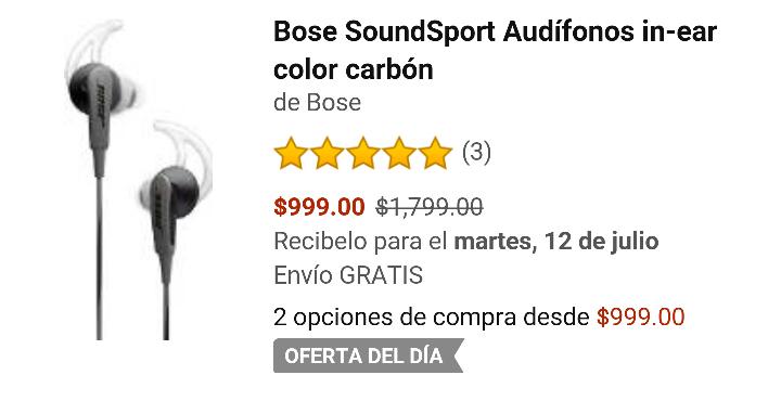Amazon: Bose SoundSport Audifonos in-ear color carbón