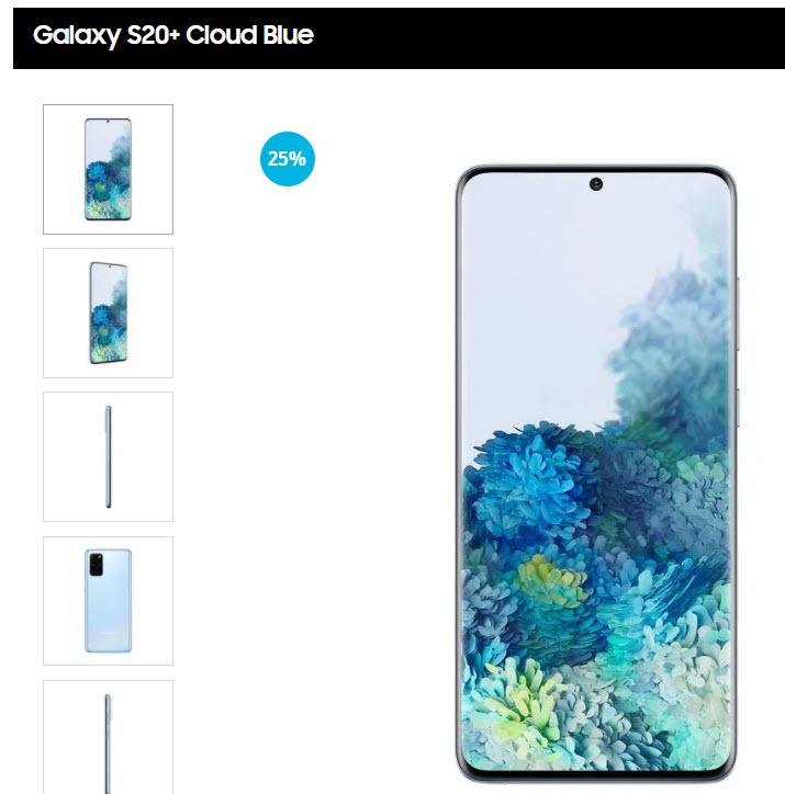 Samsung Store: Galaxy S20+ (Cupon $1000 Mercado Pago + Bonificación 10%)
