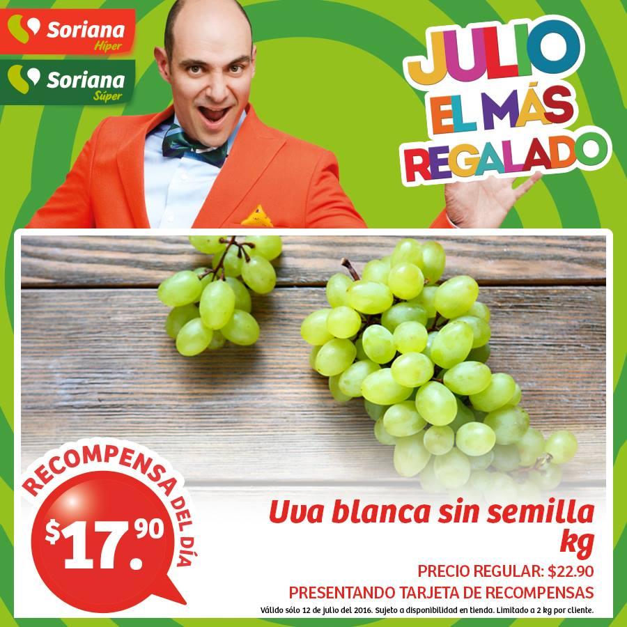 Soriana Híper y Súper: Recompensas 12 Julio: Uva Blanca sin Semilla $17.90 kg y Pierna de Pollo con Muslo Congelada $11.90 kg