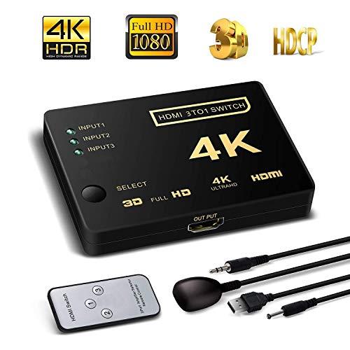 Amazon:HDMI Switch, HD 4K, 3 Entrada x 1 Salida Mando a Distancia