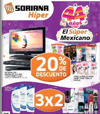 Folleto Soriana: 20% de descuento en Sony y celulares Movistar, 3x2 en desodorantes y +