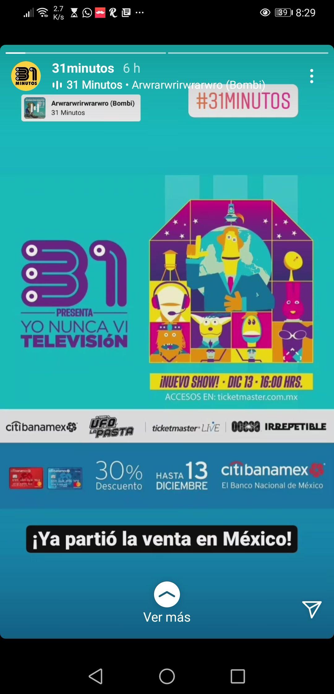 Ticketmaster: Liveshow de 31 Minutos __ 30% descuento o meses sin intereses con citibanamex