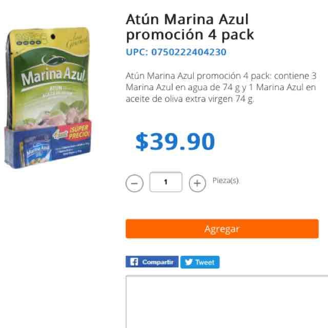 Walmart Super en línea: paquete de tres sobres de atún en agua sin sal y uno con aceite de oliva.