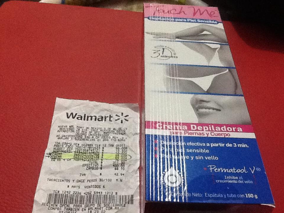 Walmart Universidad: Crema Depiladora Touch Me Piel Sensible a $59