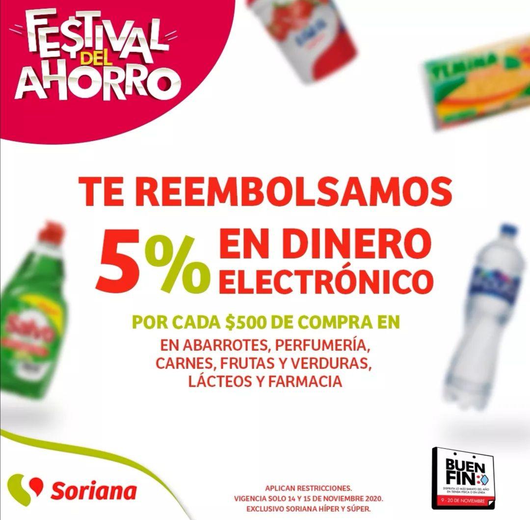 Soriana Híper y Súper: 5% en dinero electrónico por cada $500 en abarrotes, perfumería, carnes, frutas y verduras, lácteos y farmacia