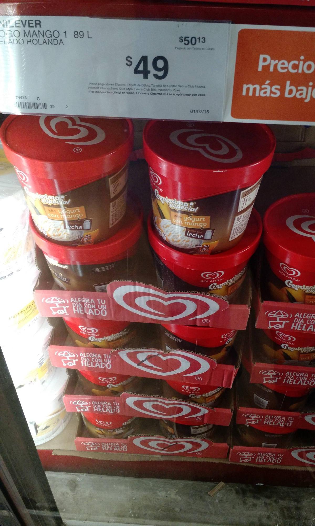 Sam's Club: Helado Holanda 1.89L sabor yogurt con mango o queso con zarzamora a $49