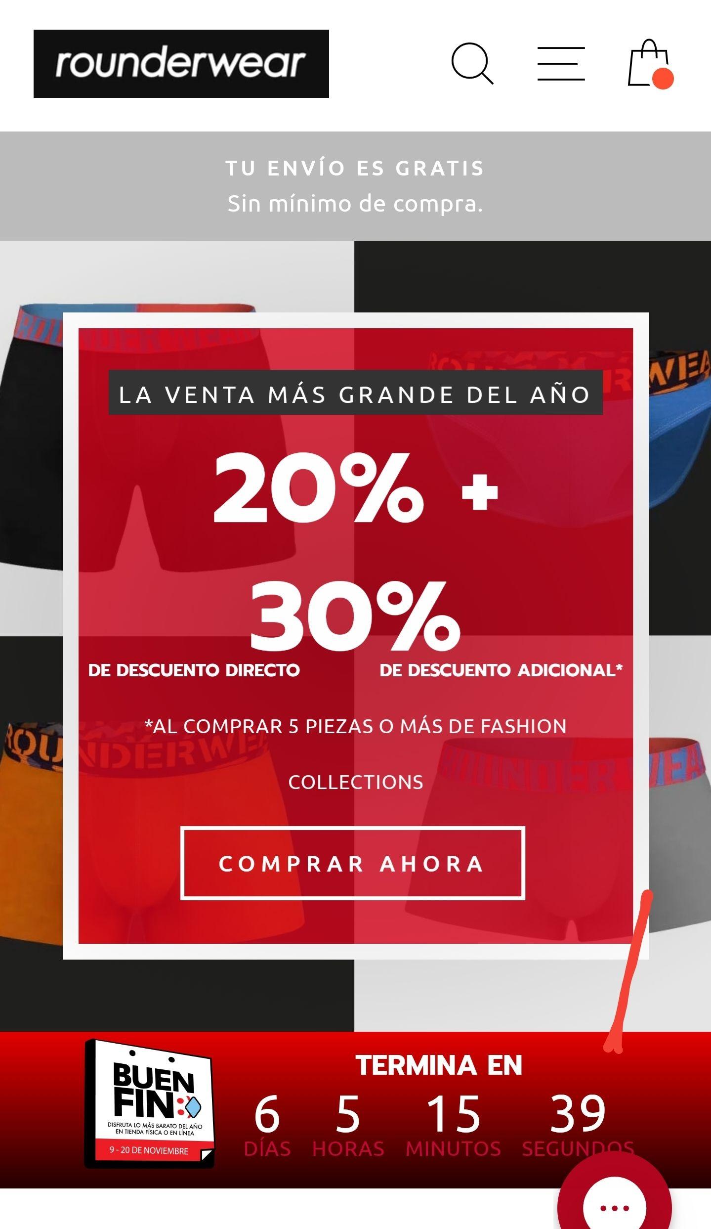 Rounderwear 20% + 30% de descuento adicional*