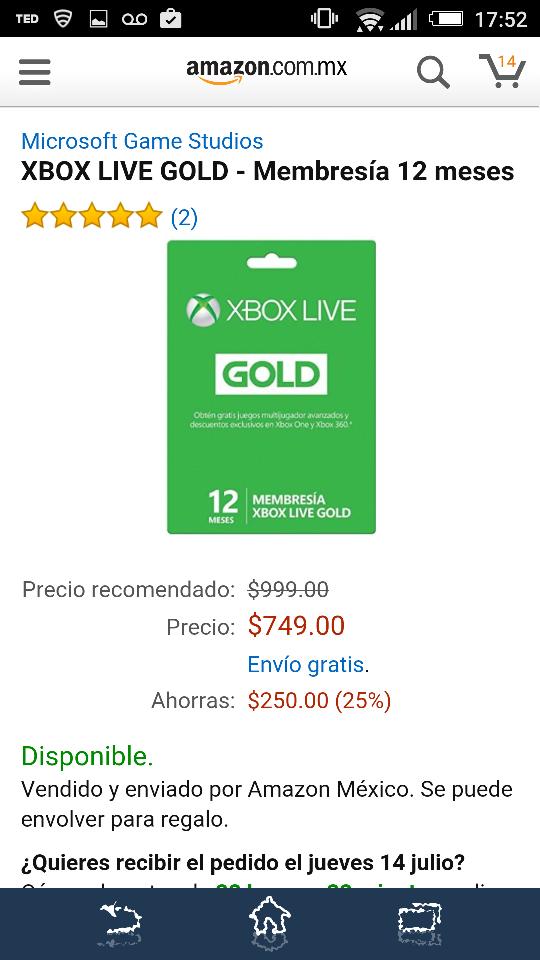 Amazon: Membresía 12 meses de Xbox Live Gold a $749 (menos con AMEX y Banorte)