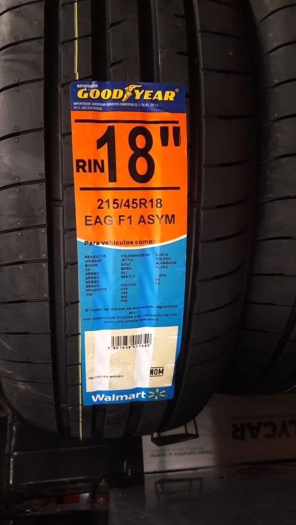 Walmart: Llantas Goodyear Eagle F1 Asymmetric 3 XL 215/45R18 93Y