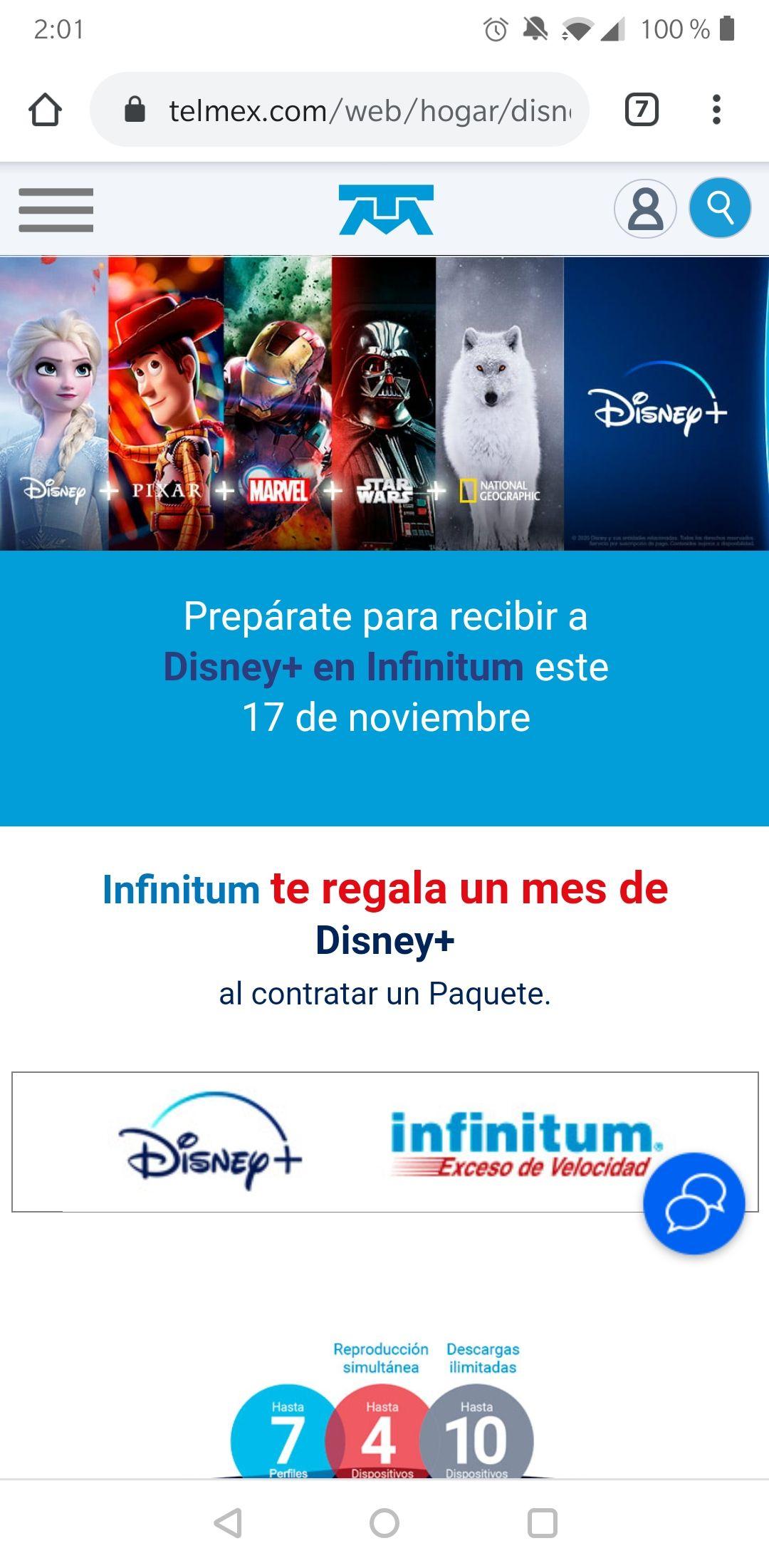 1 mes de Disney Plus gratis al contratar un paquete Infinitum Telmex