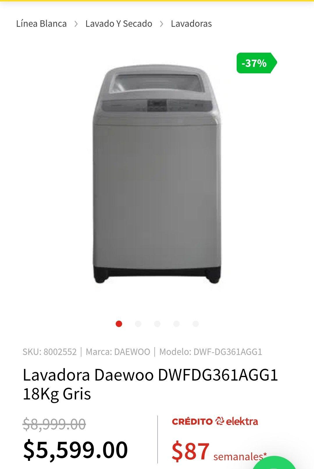 Elektra: Lavadora Daewoo 18 kg (Precio pagando con paypal y Banamex)