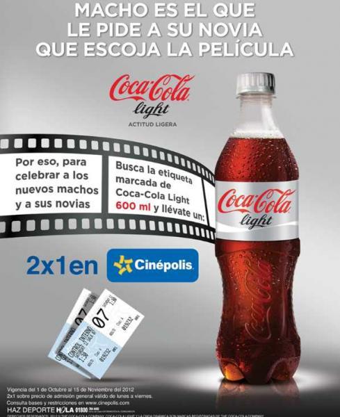 Cinépolis: 2x1 con etiqueta de Coca-Cola Light