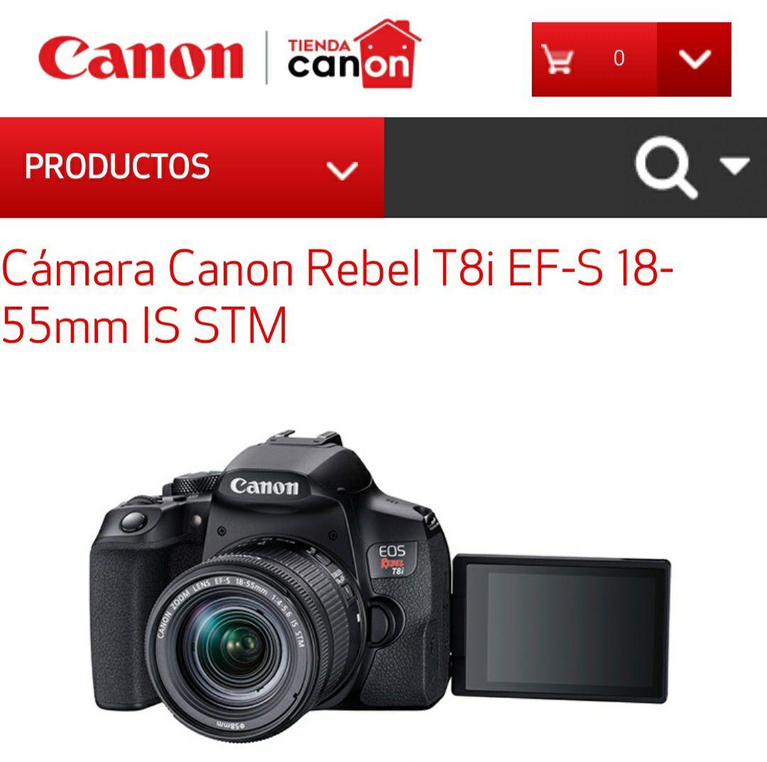 Tienda Canon: Camara Canon Rebel T8i con lente 18-55mm a $16549.35 con mercado pago utilizando cupón, y a meses sin intereses