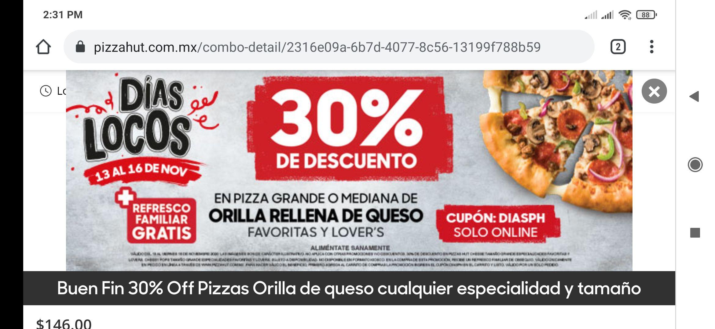 Pizza hut: orilla de queso y refresco de 2lt