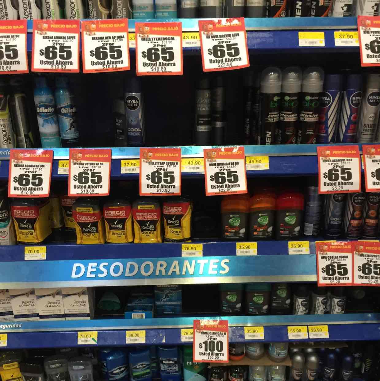 Walmart: Desodorantes en descuento en la compra de 2pzs