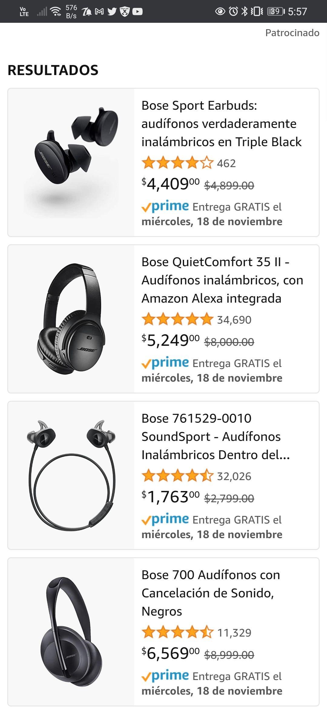 Amazon Bose descuento en varios articulos
