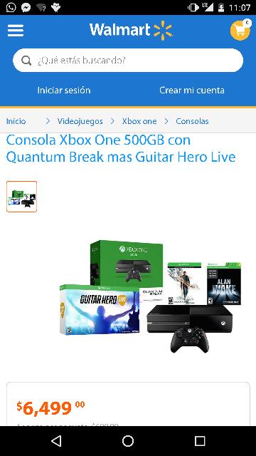 Walmart en linea: Xbox one 500GB con Quantum brake mas guitar hero live a $6,449 ($5,900 con cupon Bancomer)