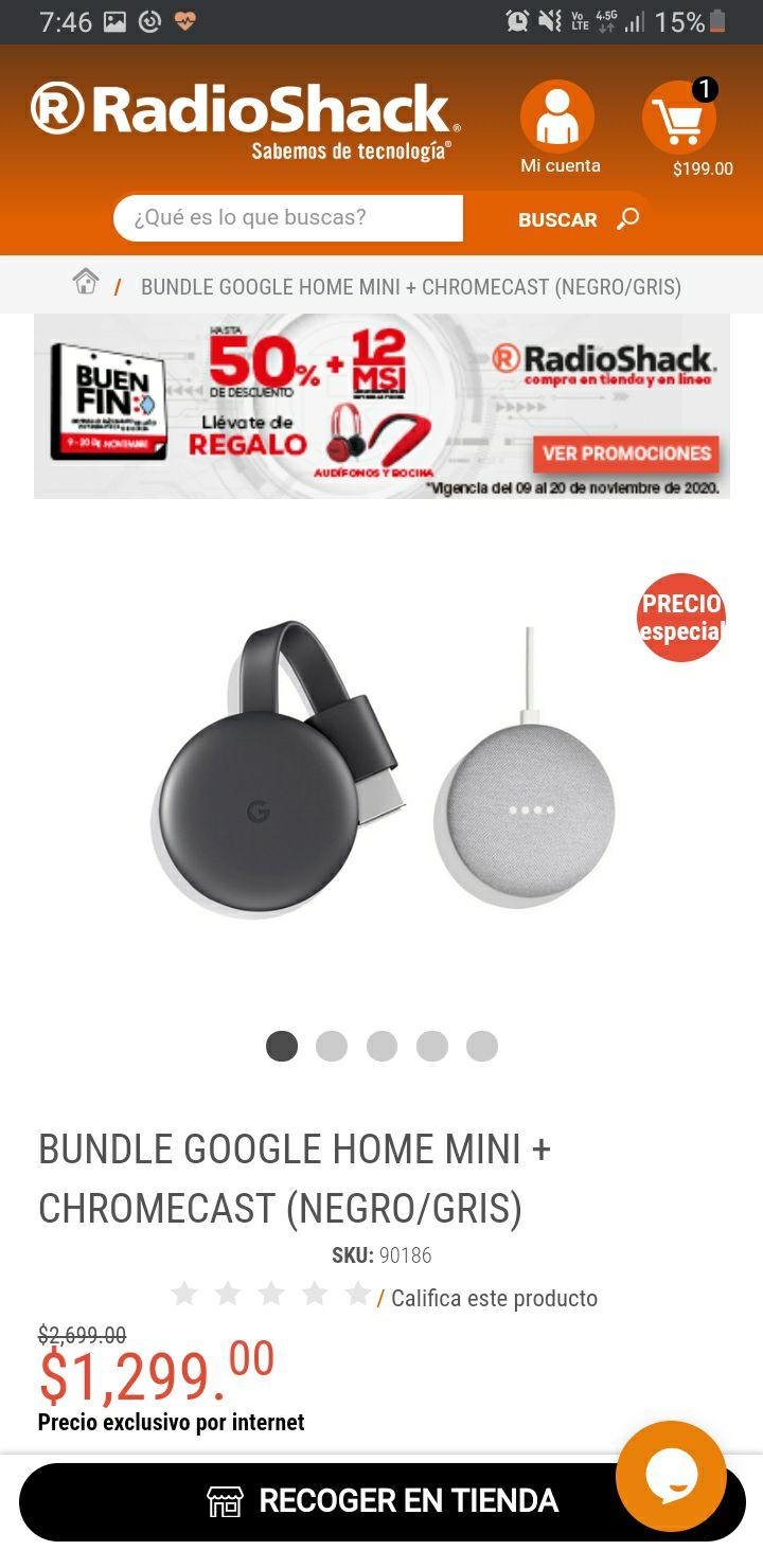 RadioShack: BUNDLE GOOGLE HOME MINI + CHROMECAST (NEGRO/GRIS)
