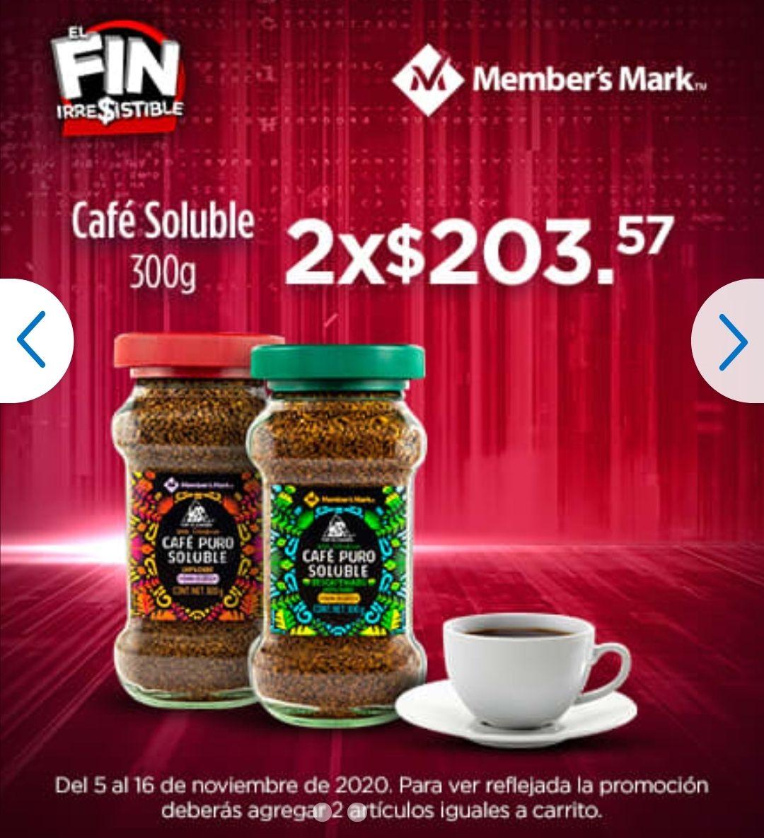 Sam's Club: Café Soluble Member's Mark 300 g (Con cafeína o descafeinado)   ENVIO: Gratis o Club Pick Up   2 piezas iguales x $203.58