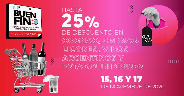 Bodegas Alianza: 25% de descuento en Cognac, cremas, licores, vinos argentinos y estadounidenses