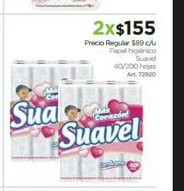 Sam's Club: 80 rollos de papel sanitario Suavel x $155