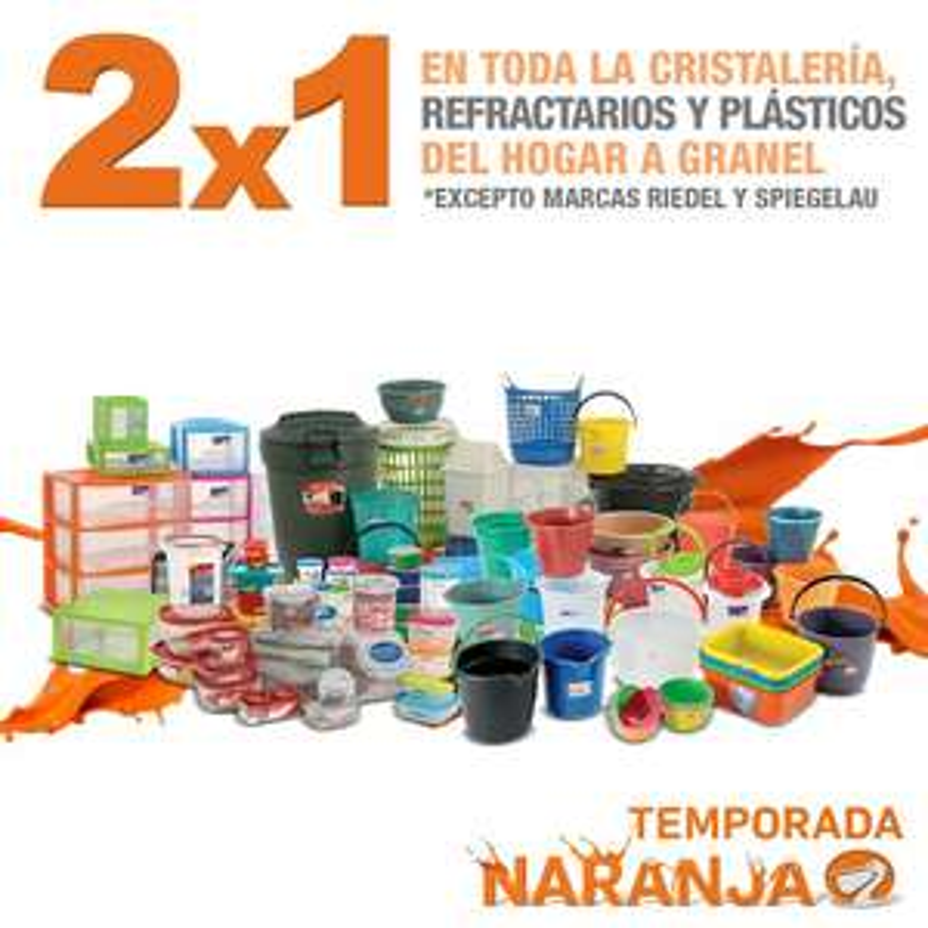 La Comer: Temporada Naranja, 2x1 en cristalería, refractarios y plásticos de hogar