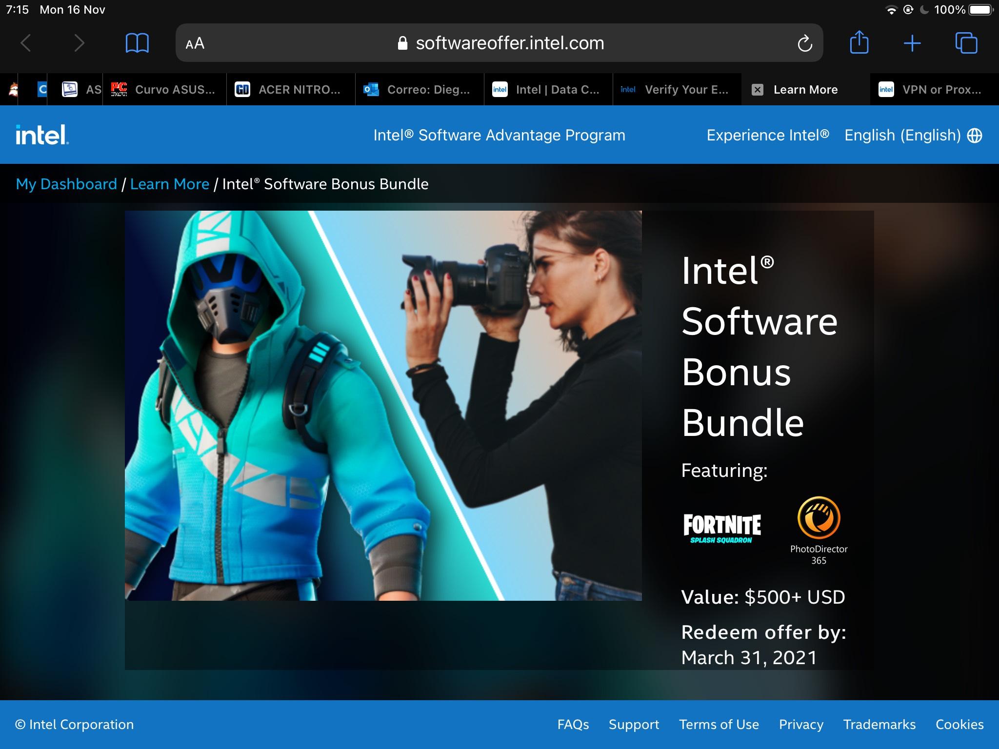 Intel: Skin Fortnite Gratis + Programas