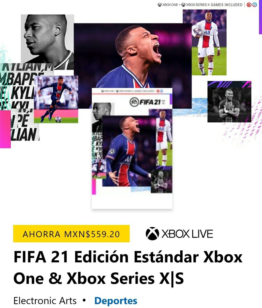 Microsoft: Fifa 21 (Descarga Digital) incluye Fut 21 500 FIFA Points (para quien tenga EA Play)