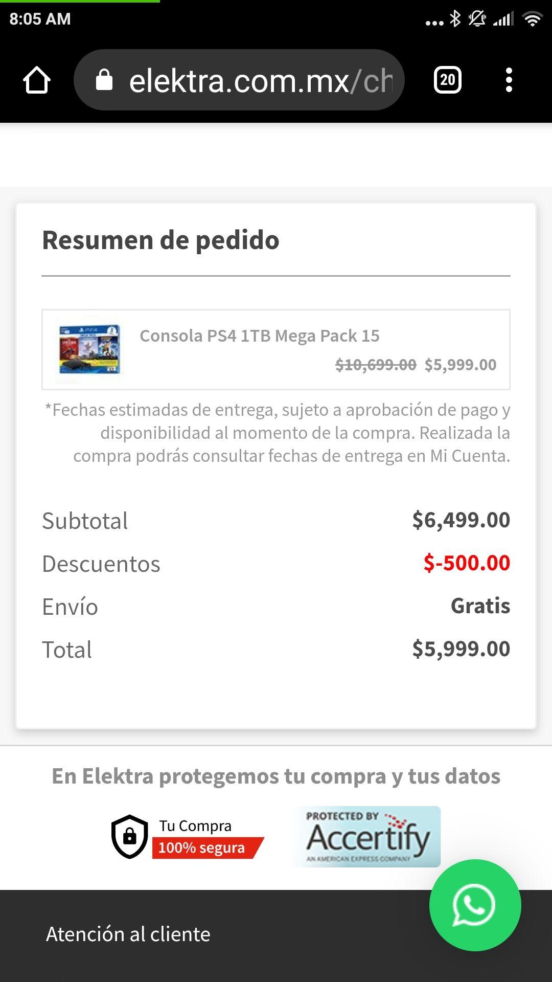 Elektra: consola Ps4 megapack pagando con Paypal-Santander
