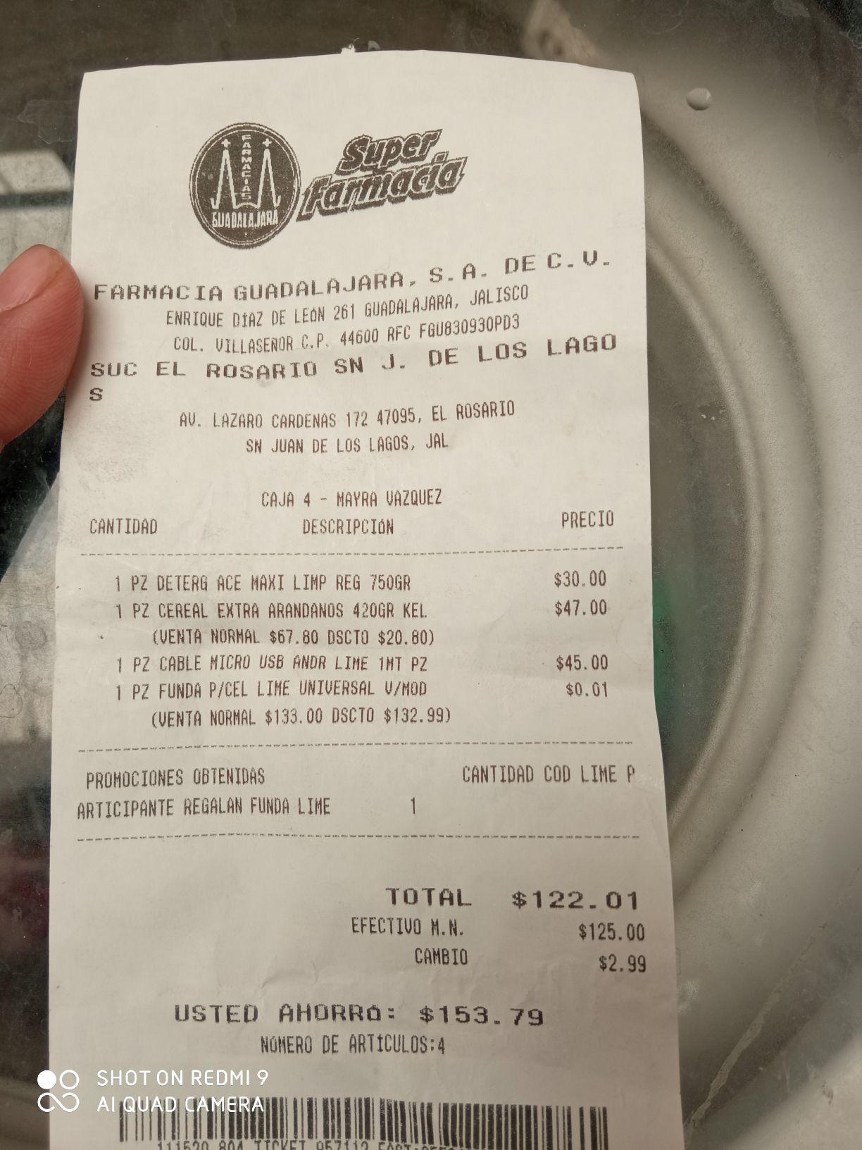 Farmacia Guadalajara: cable marca Lime + funda gratis